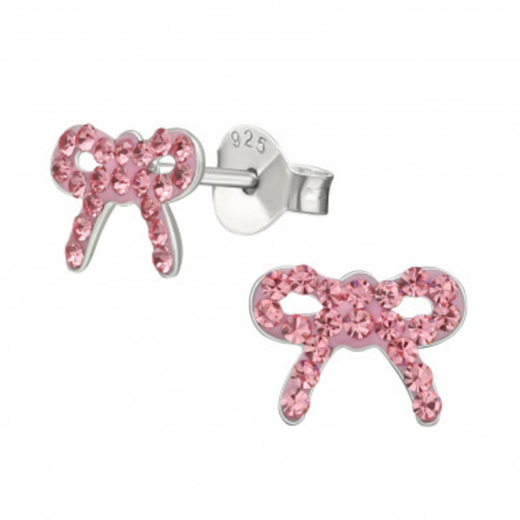 Oorstekers - Lint - Roze met diamanten