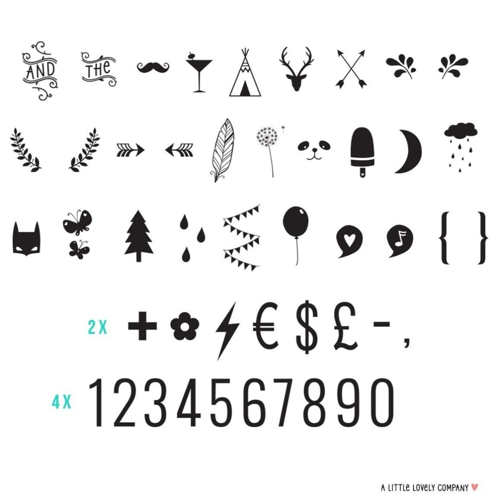 A little lovely company Letterset - 85 Numbers & Symbols