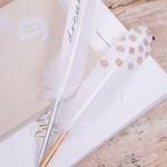 Räder Pen - Veer - Wit met gouden dots