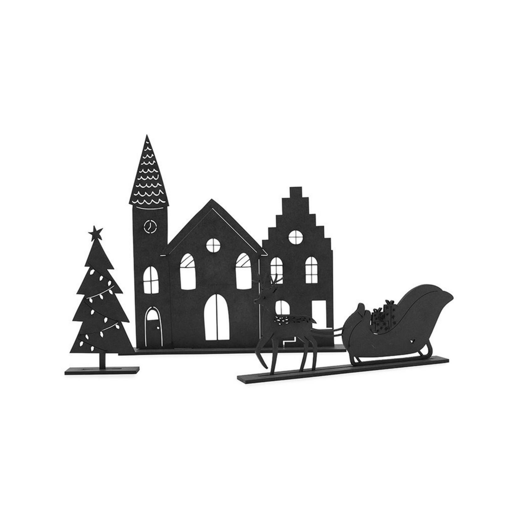 Zoedt Kerstset - Kerk, slee, boom - Hout - Zwart