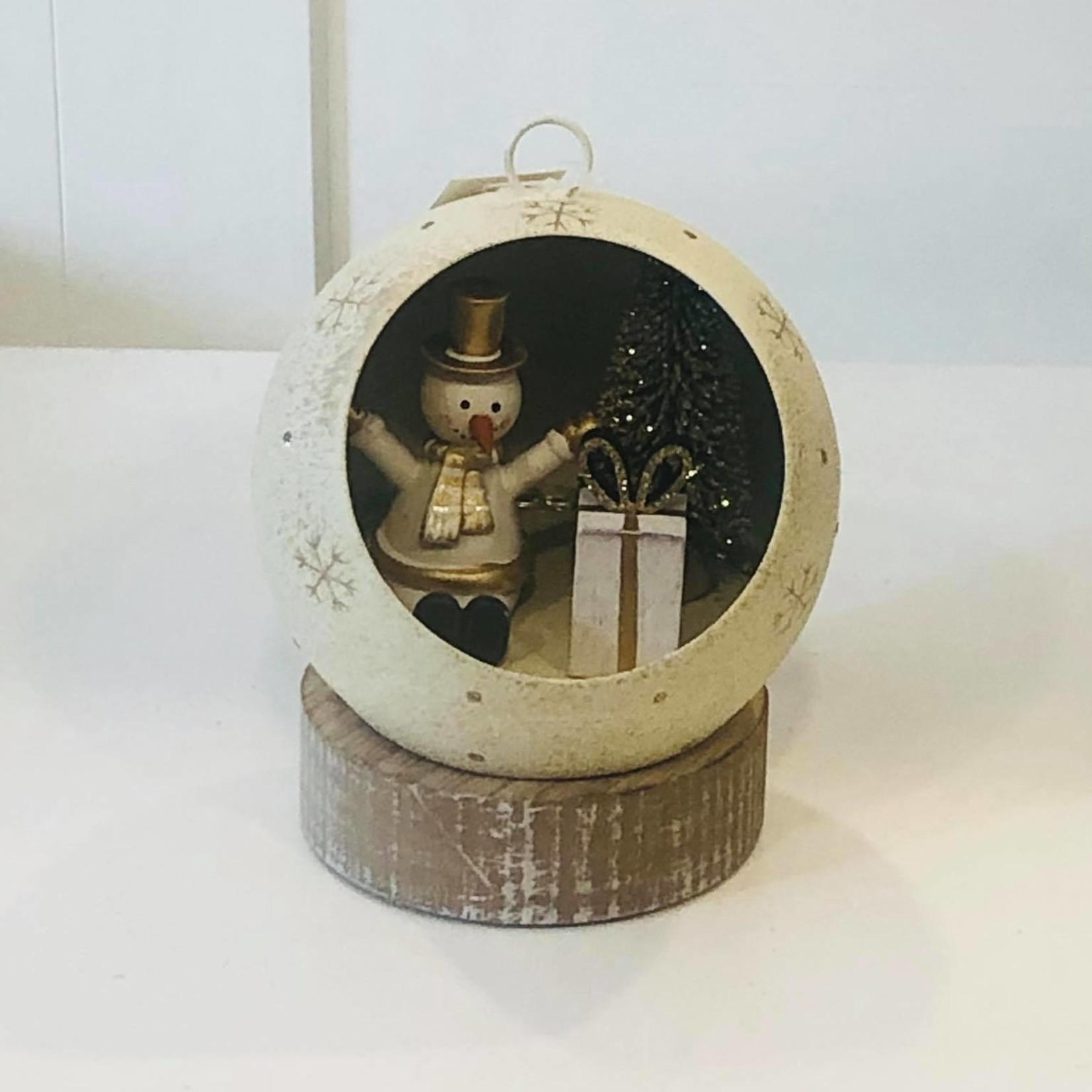 LED ornament sneeuwman - Ø12cm x 13cm hoog