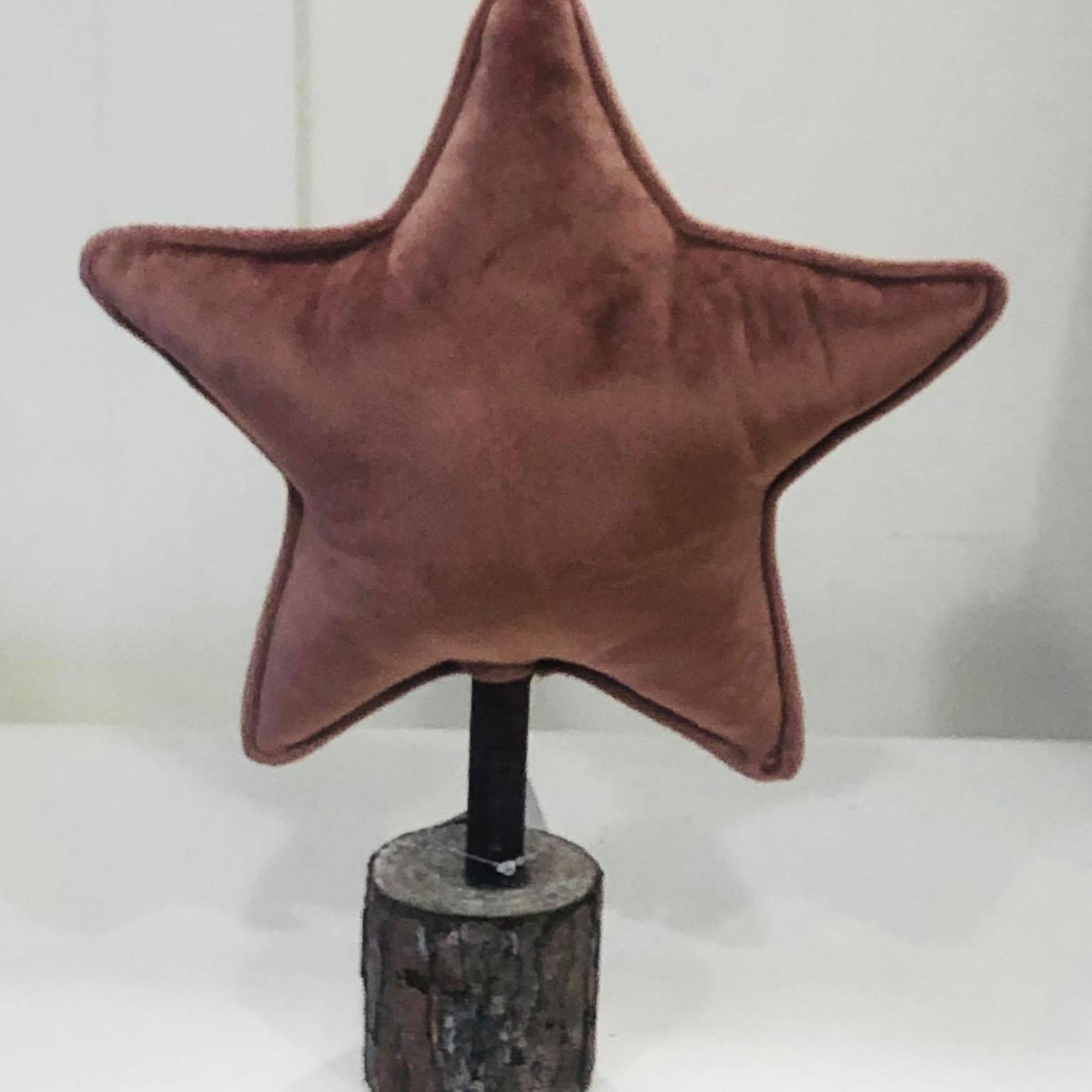 Velours oud roze ster op stam - 32cm