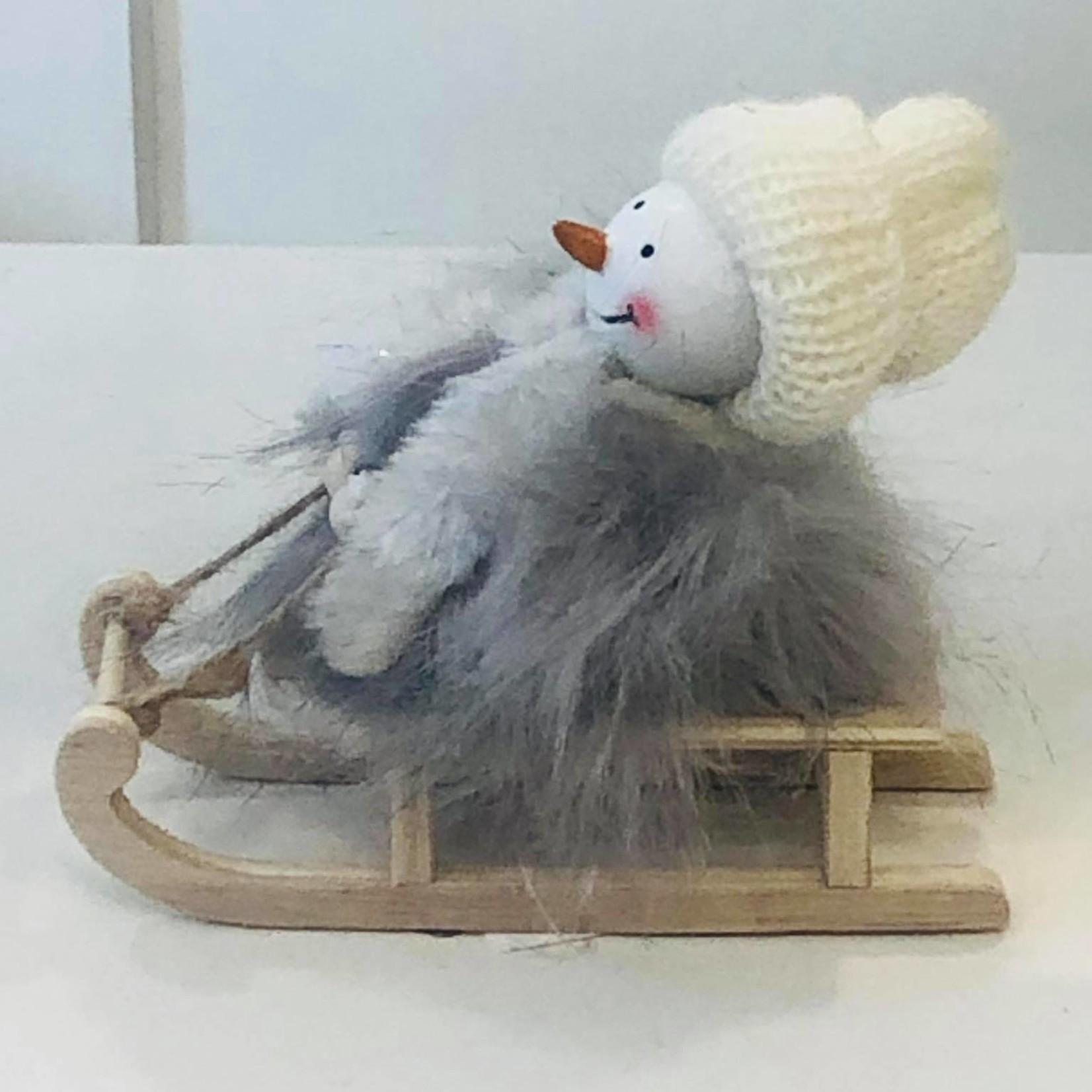 Sneeuwmannetje op slee - 14 x 11,5 x 5 cm