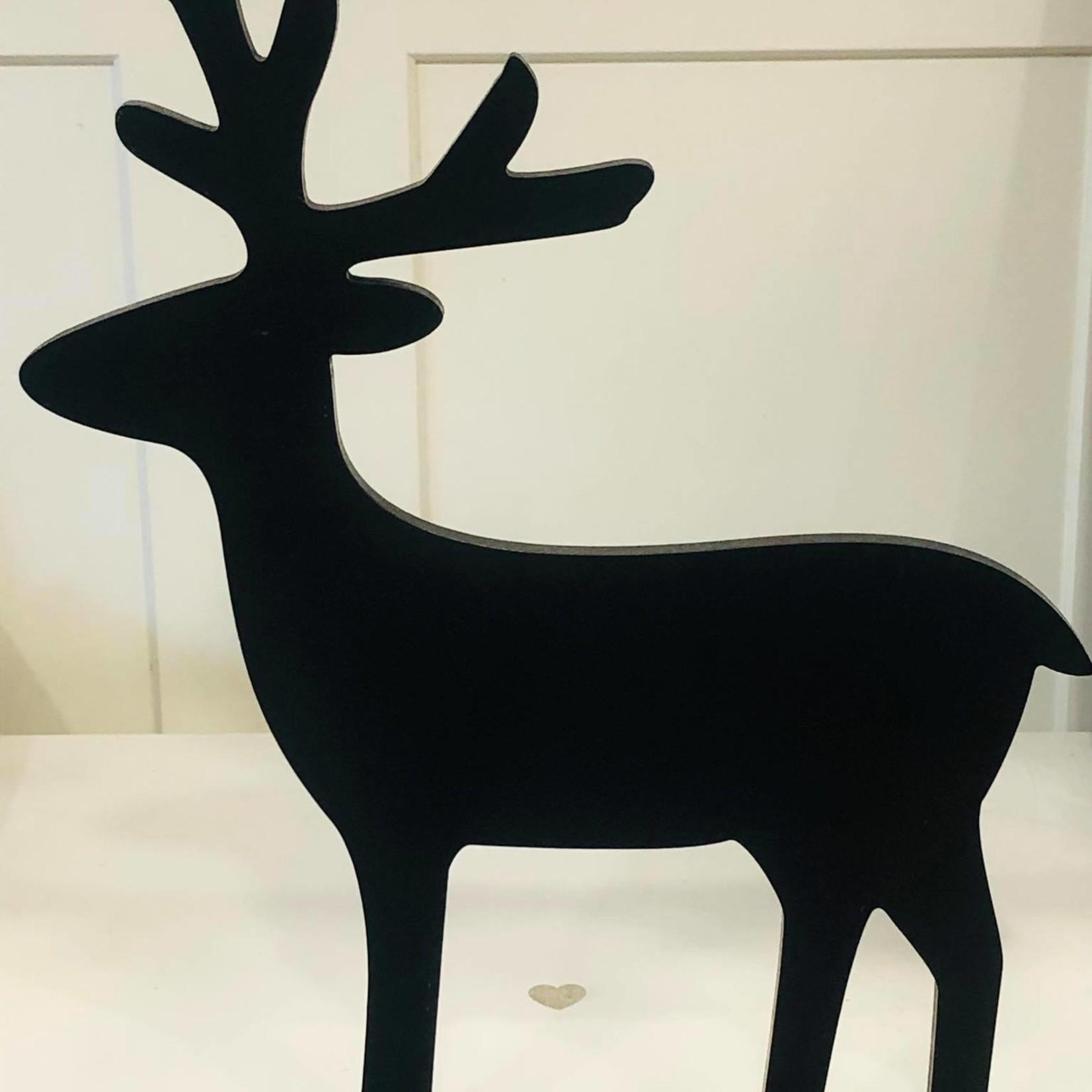 Hert op staander - Zwart - 44,5cm x 34cm