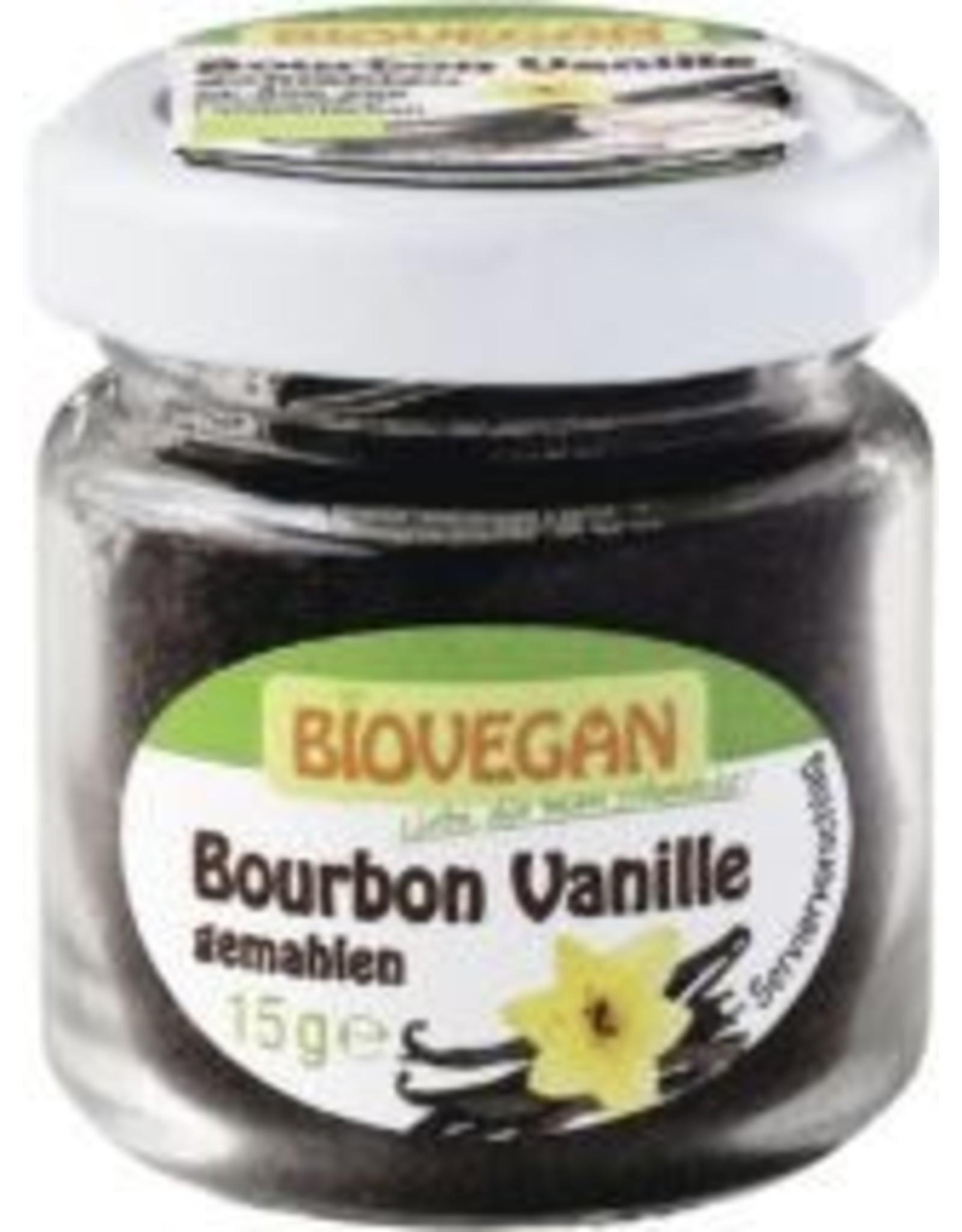 BIOVEGAN Bourbon Vanille im Glas, gemahlen, Bio, 15g