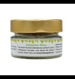 Birkengold Polvo para dientes de menta, envase de vidrio, 30g