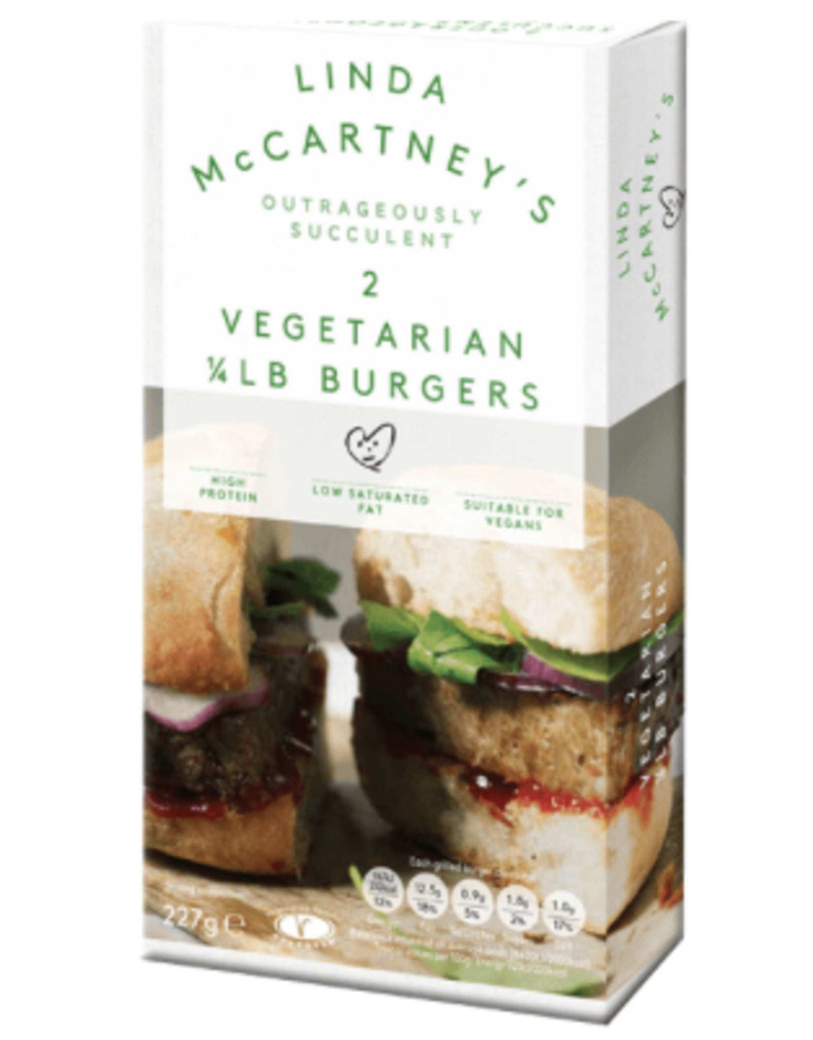 Linda Mccartney Hamburguesas Vegana Cuarto de Libra, 227g