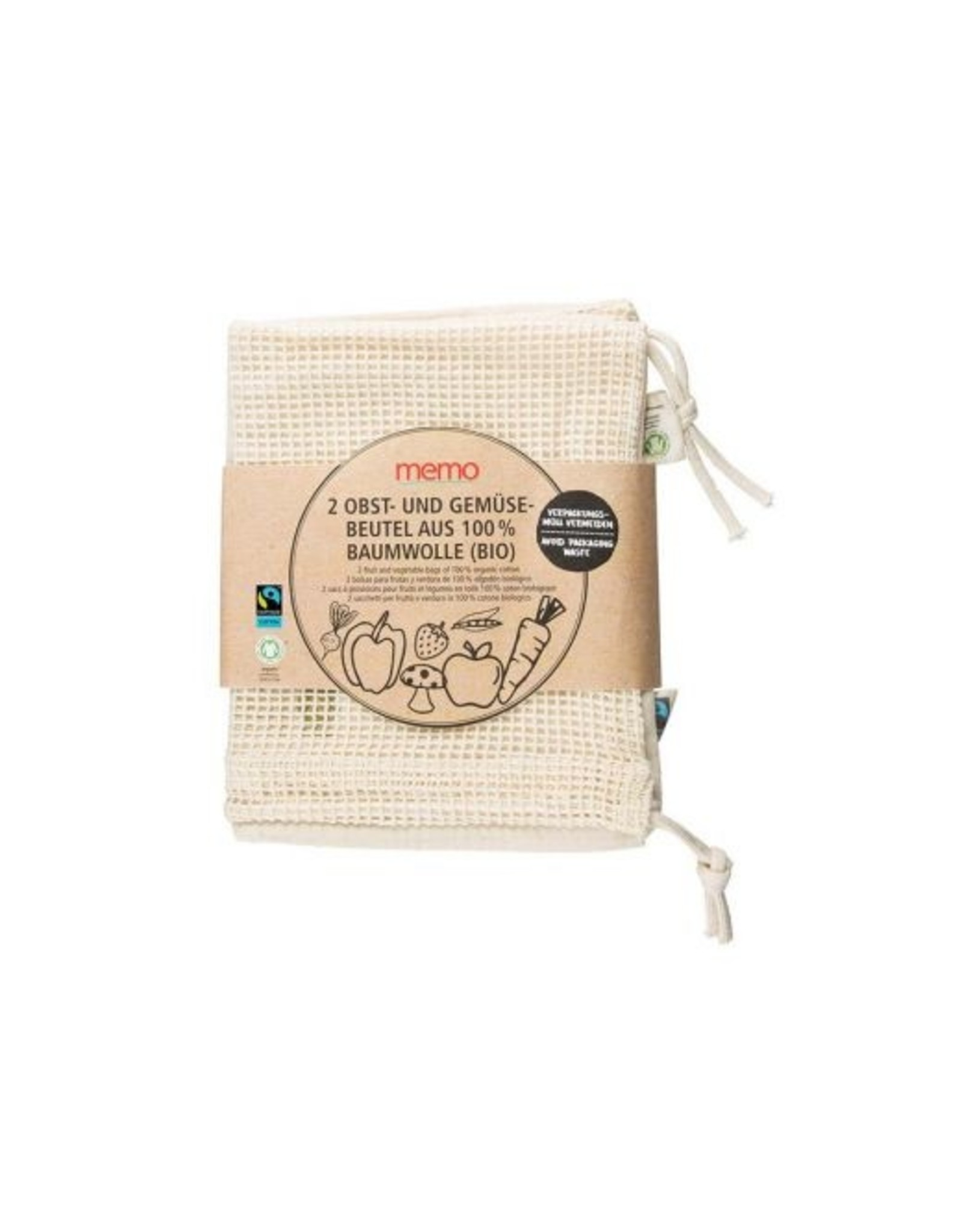 memo Obst & Gemüse Baumwoll-Beutel 2er Pack 1Stk