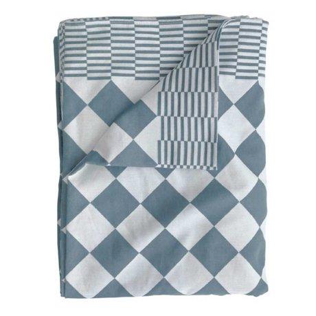HK-living Tafelkleed blokjes blauw katoen 140x200cm