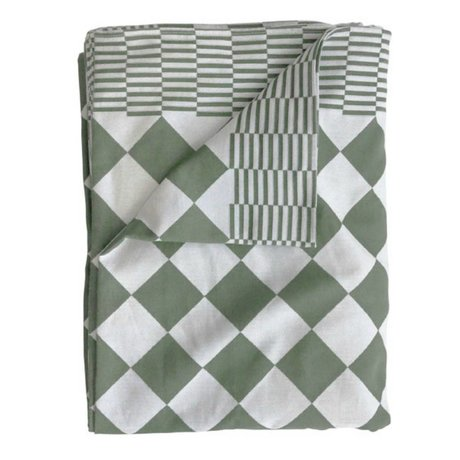 HK-living Tafelkleed blokjes groen katoen 140x200cm
