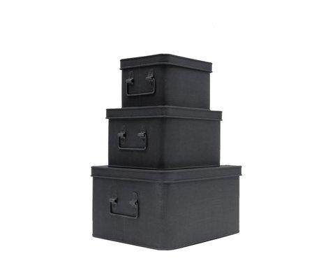 LEF collections Opbergbox set van 3 zwart metaal