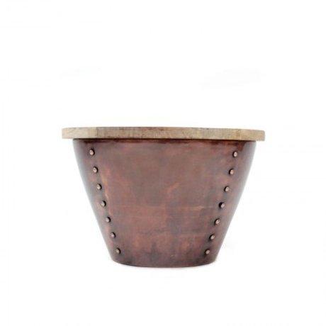 LEF collections Bijzettafel Indi bruin rood hout metaal M 46x46x31cm