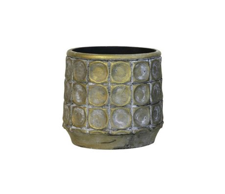 HK-living Bloempot goud cement small 13,5x13,5x13cm