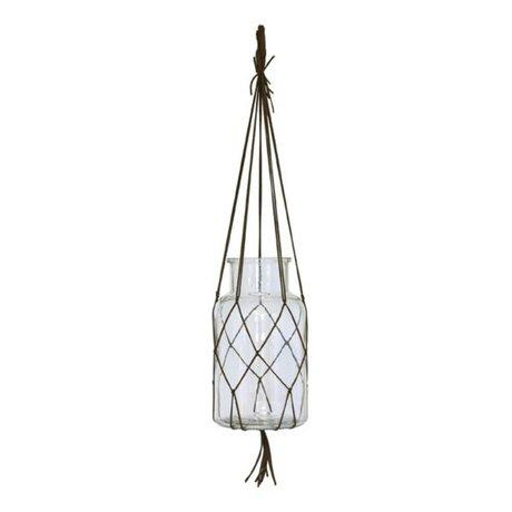 HK-living Hangvaas bruin glas leer medium 14x14x26cm
