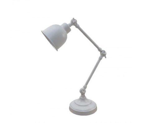 LEF collections Tafellamp office retro wit metaal 14x20x45cm