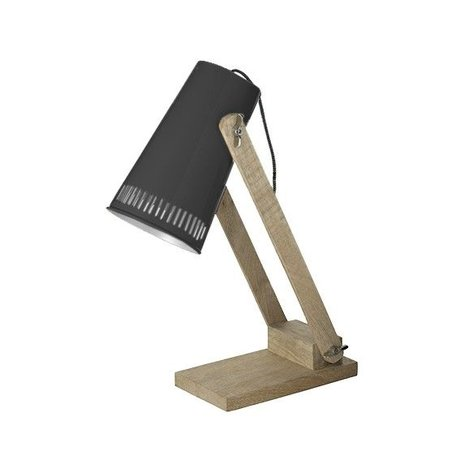 LEF collections Tafellamp retro zwart metaal hout 16x26x52cm