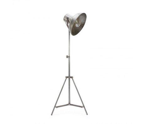 LEF collections Vloerlamp factory zilver metaal 55x55x145-185cm