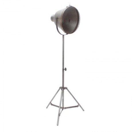 LEF collections Vloerlamp gaas zilver/grijs metaal 60x60x110-170cm
