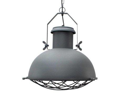 LEF collections Hanglamp grid grijs metaal 52x52x48cm