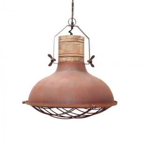 LEF collections Hanglamp grid oranje/bruin metaal hout 52x52x48cm