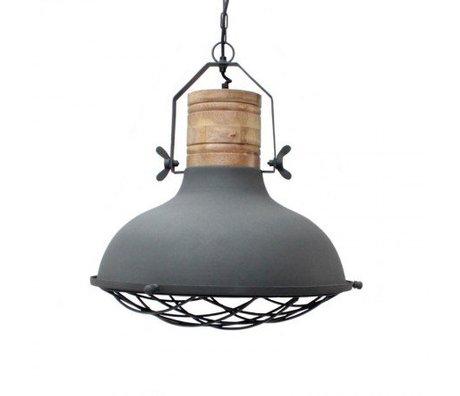 LEF collections Hanglamp grid grijs metaal hout 52x52x48cm