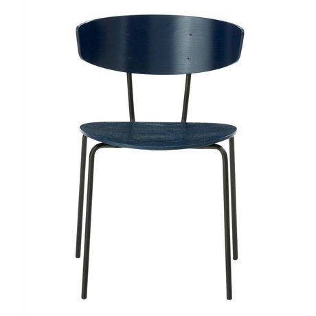 Ferm Living Eetkamerstoel Herman donker blauw hout metaal 50x74x47cm