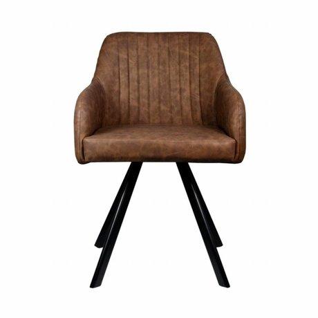 LEF collections Eetkamerstoel Floor bruin PU leer 55,5x60x84cm
