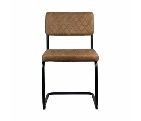 LEF collections Eetkamerstoel Bow bruin textiel 49x55x85cm