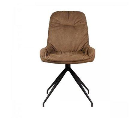 LEF collections Eetkamerstoel Winner bruin textiel 52x59x95,5cm
