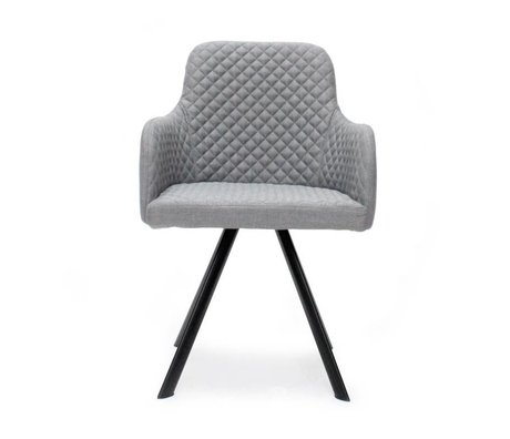 LEF collections Eetkamerstoel Tigo grijs textiel 56x55x88cm