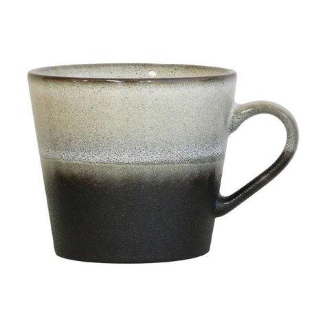 HK-living Cappuccino mok Rock '70's style zwart wit keramiek 12x9,5x8,5cm