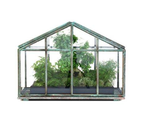 HK-living Mini kas transparant glas metaal 51x25x36,5cm