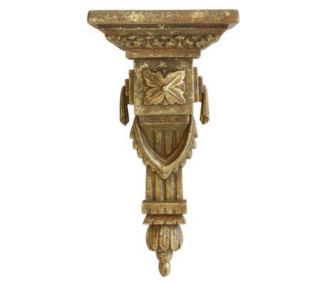 HK-living Wand ornament in baroque stijl brass goud kunststof 13x10x25cm set van 2