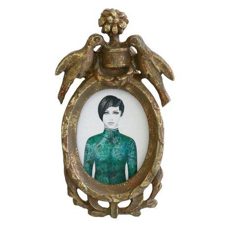 HK-living Fotolijst portret antiek look geprint multicolor kunststof 16,5x9,5x3cm