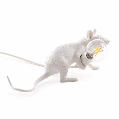 Seletti Tafellamp Mouse wit kunststof 6,2x2,1x8,1cm