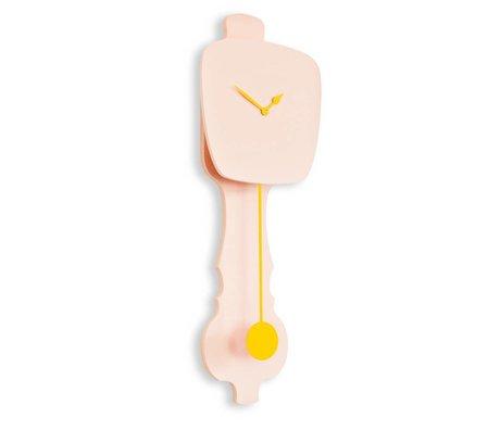 KLOQ Klok roze, geel hout 75,5x26,2x8cm
