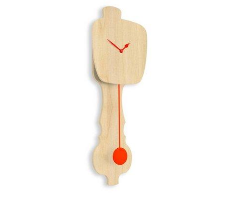 KLOQ Klok naturel bruin oranje hout 75,5x26,2x8cm