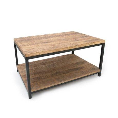 LEF collections Salontafel Industrieel bruin zwart hout metaal 90x60x46cm