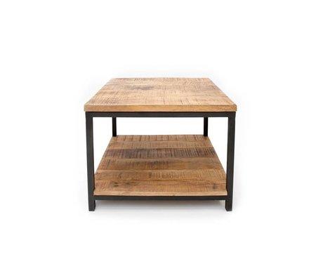 LEF collections Salontafel Industrieel bruin zwart hout metaal 60x60x46cm