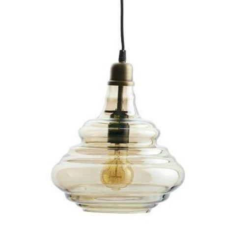 BePureHome Hanglamp Pure brass goud glas 28xØ25cm