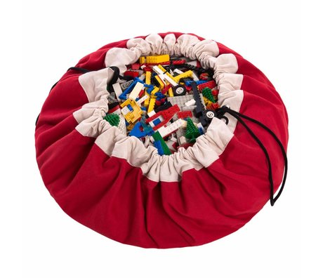 Play & go Opbergzak/speelkleed Classic Red rood katoen ø140cm