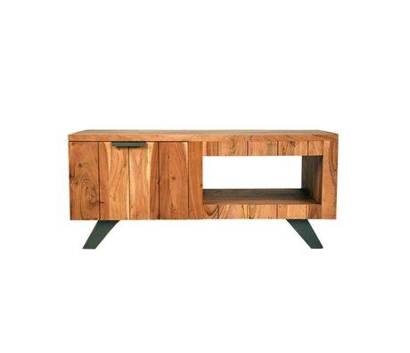 LEF collections Salontafel Milaan bruin zwart hout metaal 110x60x48cm