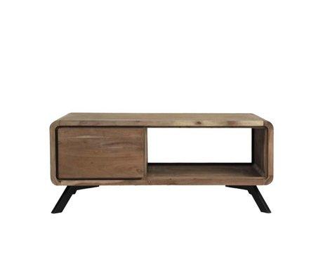 LEF collections Salontafel Havana bruin hout metaal 110x60x46cm