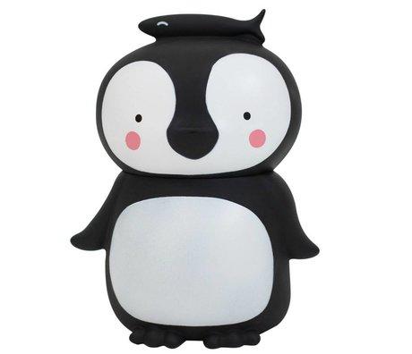 A Little Lovely Company Spaarpot Pinguïn zwart wit kunststof 13x10x16cm
