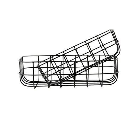Housedoctor Draadmandjes Simply zwart ijzer set van twee 16x24x8cm/20x28x8cm
