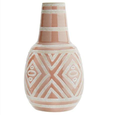 Madam Stoltz Vaas lichtroze wit keramiek Ø20x34cm