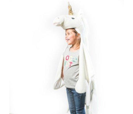 Wild and Soft Vermomming Eenhoorn wit goud textiel 102x116x24cm