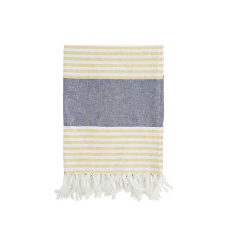 Madam Stoltz Handdoek geel wit gestreept blauw katoen 100x170cm