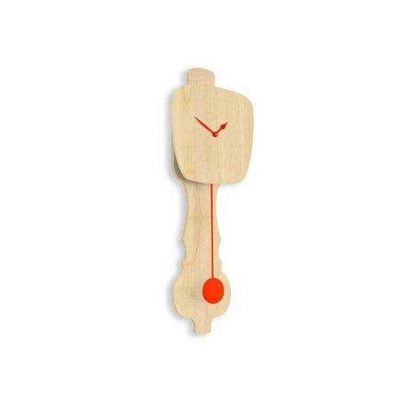 KLOQ Klok neutraal hout small, oranje hout 59x20,4x6cm