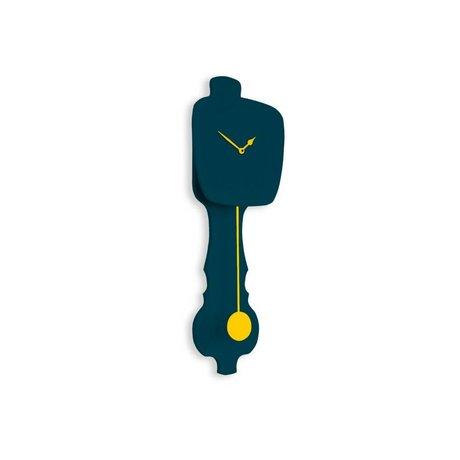 KLOQ Klok petrol blauw small, geel hout 59x20,4x6cm